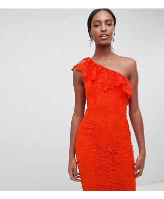 Paper Dolls Tall One Shoulder Crochet Lace Dress-Red