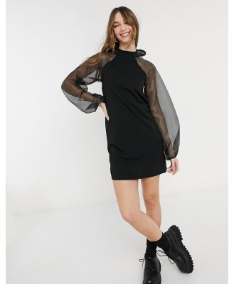 Pieces mini dress with organza sleeves and bow back in black