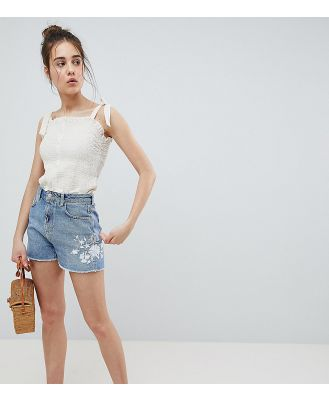 Pimkie Embroidered Denim Shorts - Blue