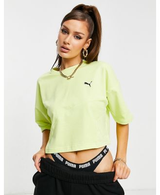 Puma Evide Form Stripe cropped t0shirt in green