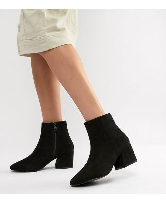 RAID Wide Fit Black Heeled Ankle Boots