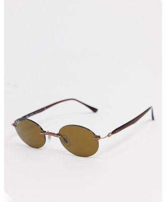 Rayban rimless slim oval sunglasses in brown