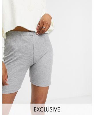 Reclaimed Vintage inspired ribbed legging short in grey