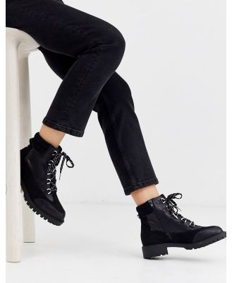 River Island lace up flat hiker boot in black
