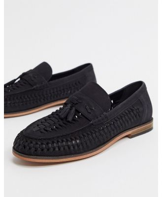 River Island leather woven loafer in black