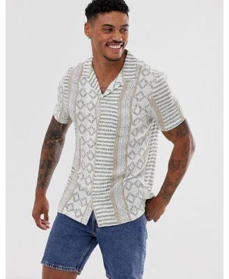 River Island shirt with aztec print in ecru-White