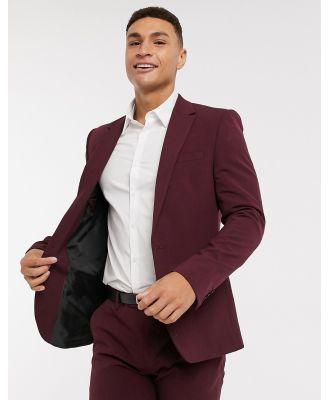 River Island skinny suit jacket in burgundy-Red