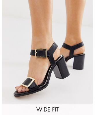 River Island Wide Fit block heeled sandals in black