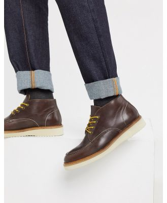 Selected Homme leather chukka boot in brown