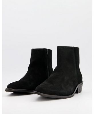 Selected Homme suede chelsea boots with cuban heel in black