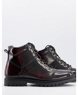 Silver Street chunky hiker lace up boots in burgundy leather-Red