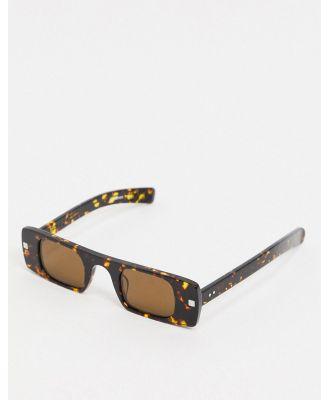Spitfire Cut Seven slim square sunglasses in tort-Brown