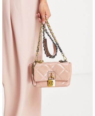 Steve Madden BJayme cross-body bag with chain strap in blush quilting-Pink
