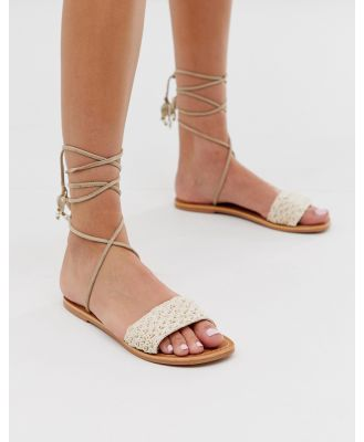 Steve Madden Gemini white natural raffia sandals with shell tie up detail