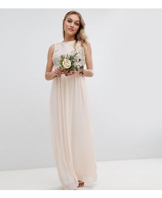 TFNC Petite Maxi Bridesmaid Dress With Soft Floral Sequin Top - Pink