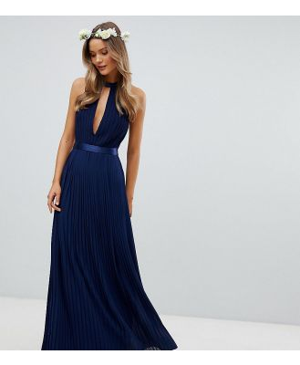 TFNC Pleated Maxi Bridesmaid Dress with Cross Back and Bow Detail - Navy