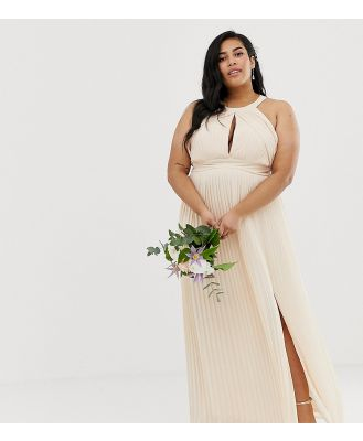 TFNC Plus bridesmaid exclusive pleated maxi dress in pearl pink