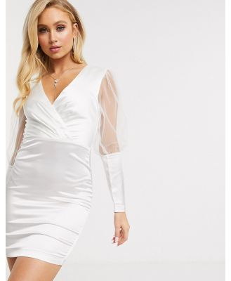 The Girlcode satin mini dress with tulle puff sleeves in white
