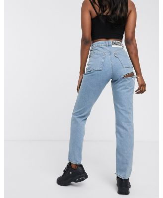 The Ragged Priest mom jeans with bum rip in light wash denim-Blue