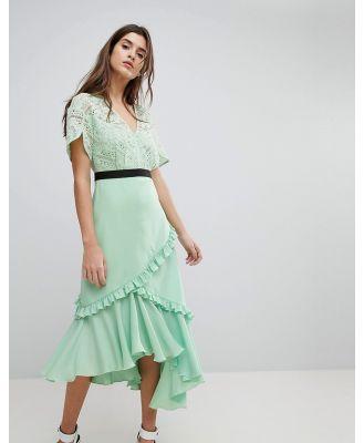 Three Floor Midi Dress With Lace Bodice-Green