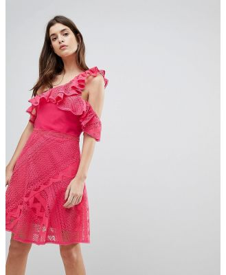 Three Floor One Shoulder Frill Lace Dress-Pink