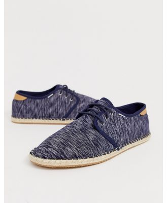 TOMS lace up espadrilles in blue chambray