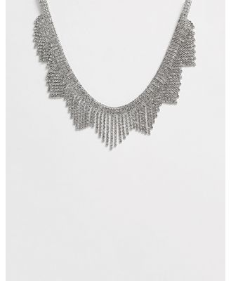 True Decadence overized crystal fringe necklace-Silver