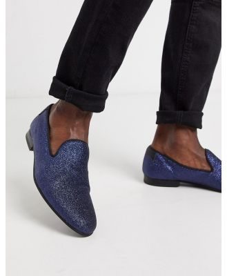 Twisted Tailor glitter loafer in navy