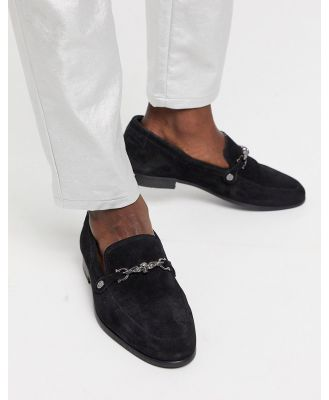 Twisted Tailor suede loafer with silver buckle in black