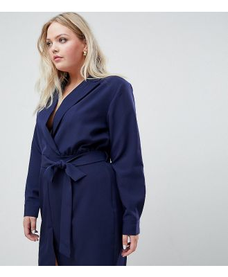 Unique 21 Hero tailored belted wrap dress-Navy