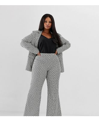 UNIQUE21 Hero Plus flared pants in monogram print co-ord - Cream