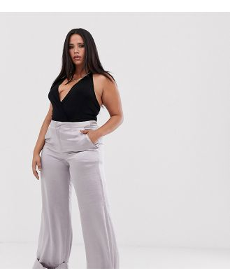 UNIQUE21 Hero Plus high waist wide leg satin pants - Purple