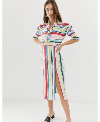 Vero Moda Stripe Midi Dress With Side Splits-Multi