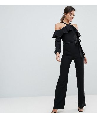 Vesper Frill Overlay Jumpsuit With Tie Detail - Black