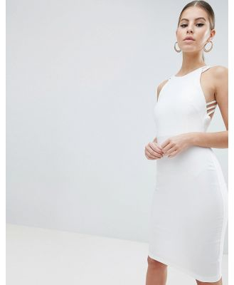 Vesper strappy back midi dress in white