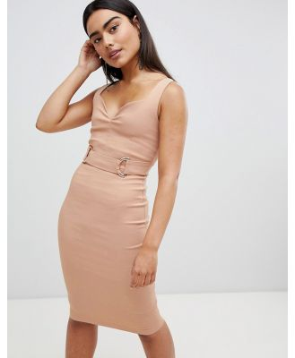 Vepser v neck strap pencil midi dress - Beige