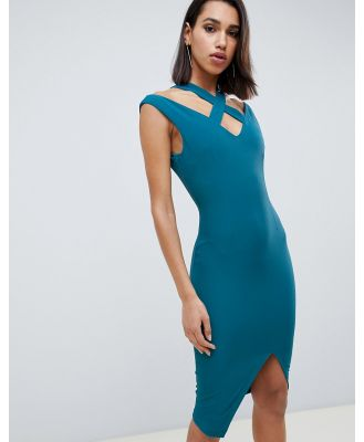 Vesper wrap front midi dress with cut out detail - Green