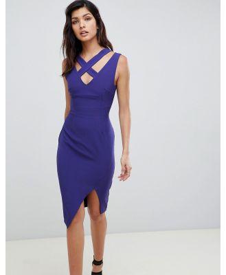 Vesper wrap front midi dress with cut out detail - Purple