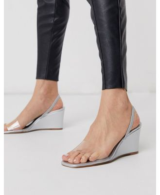 Who What Wear Thalia clear mix wedges in mirrored silver