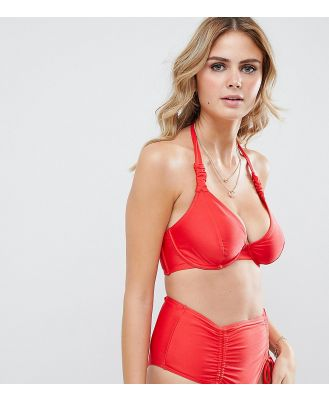 Wolf & Whistle Fuller Bust Exclusive strung and gathered underwired halter bikini top in red