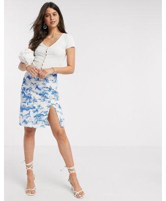 Y.A.S midi slip skirt in porcelain print-Multi