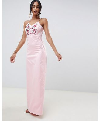 Y.A.S Studio Embroidered Maxi Dress-Pink