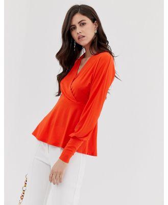 Y.A.S V Neck wrap Top-Orange