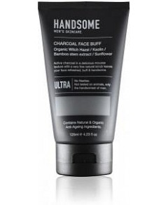 Handsome Men's Organic Skincare Charcoal Face Buff Witch Hazel/Kaolin/Bamboo Extract/Sunflower 125ml