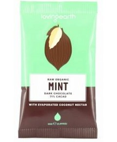 Loving Earth Raw Organic Mint Dark Chocolate 16x30g