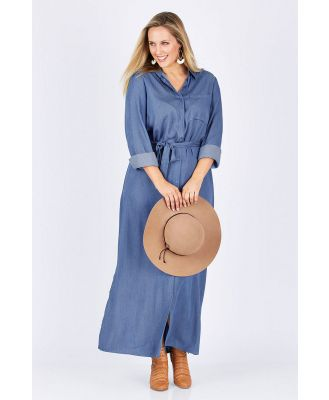 Belle Chambray Maxi Shirt Dress