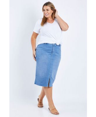Not Your Daughters Jeans Midi Skirt With Braided Belt Loops