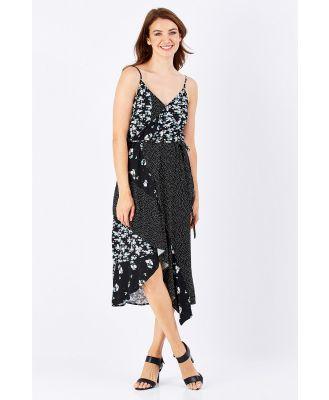 Spliced Floral Wrap Dress