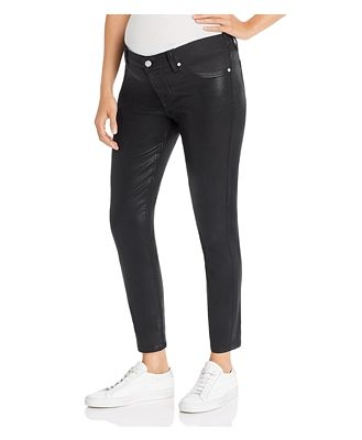 7 For All Mankind Ankle Skinny Maternity Jeans in b(air) Black Coated