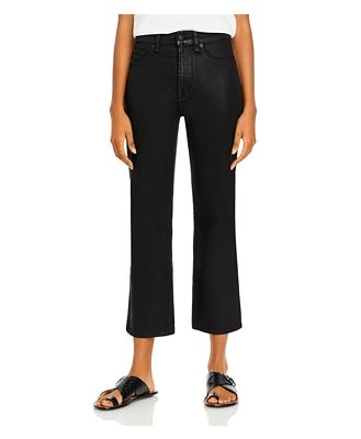 7 For All Mankind High Waisted Slim Kick Flare Jeans in Coated Black